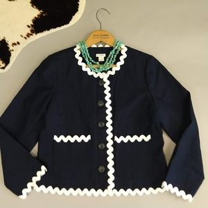 J Crew 8 Lady Jacket with Rick Rack in Navy Blue